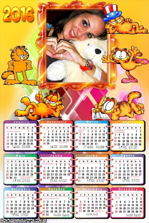 Calendário Gato Garfield 2016 Desenho