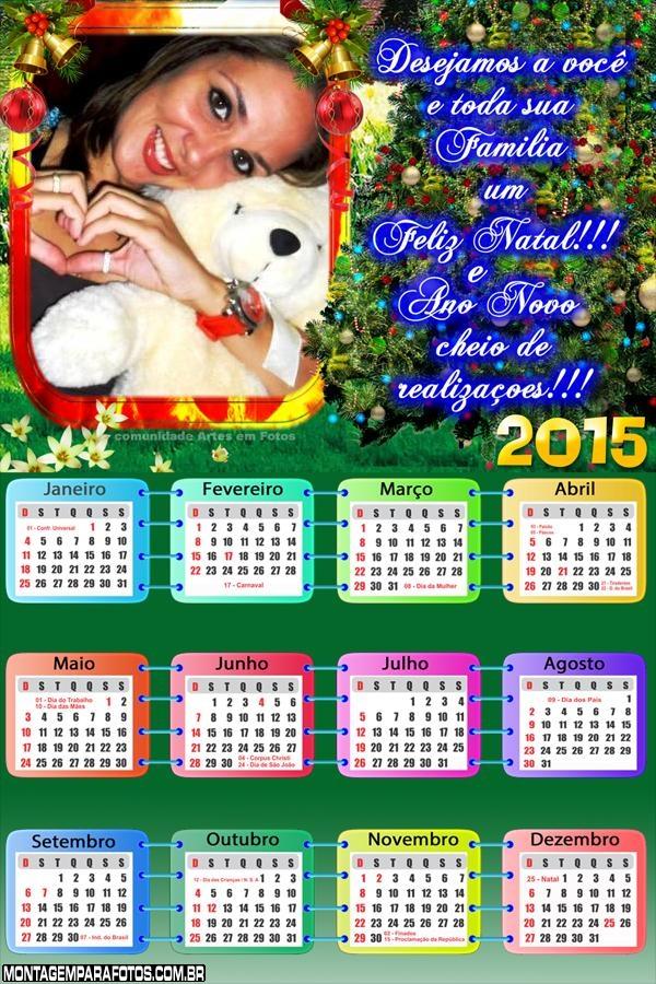 Calendário 2015 Mensagem de Natal