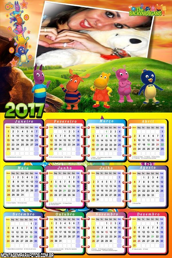 Calendário 2017 Jardim dos Backyardigans Desenho