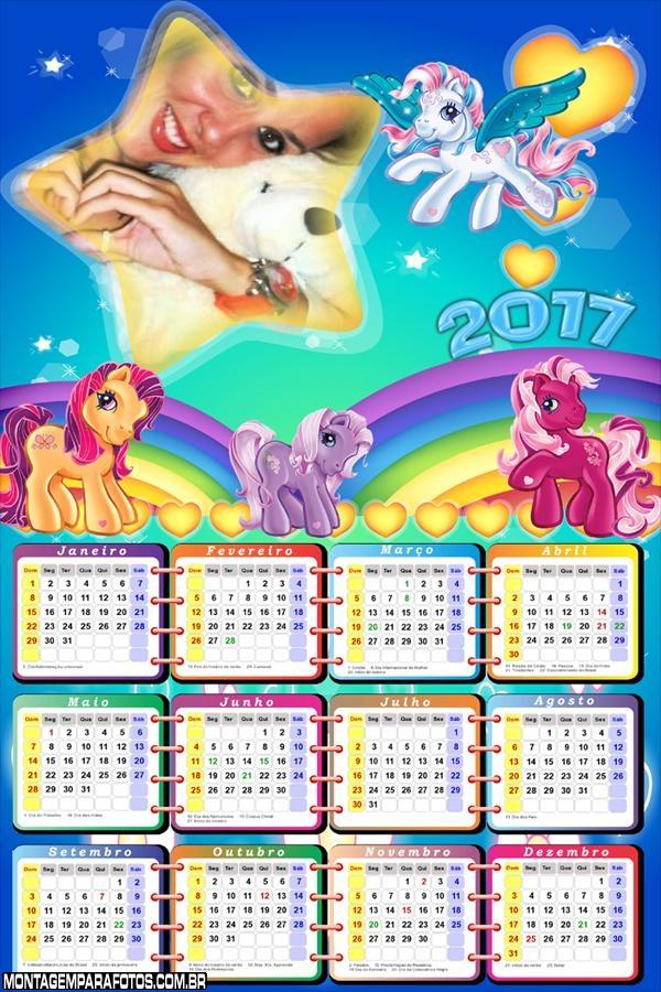 Calendário 2017 Estrela Ponny