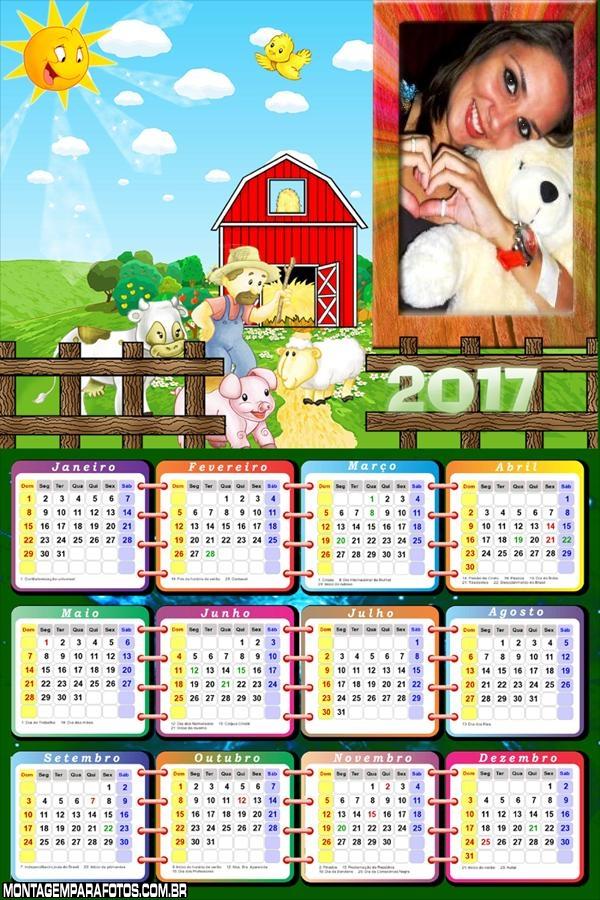 Calendário 2017 Fazendinha