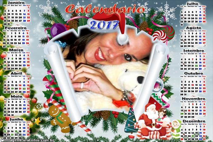 Calendário 2017 Criança Colo Papai Noel