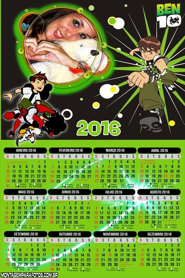 Calendário do Ben 10 Supremacia Alienígena 2016