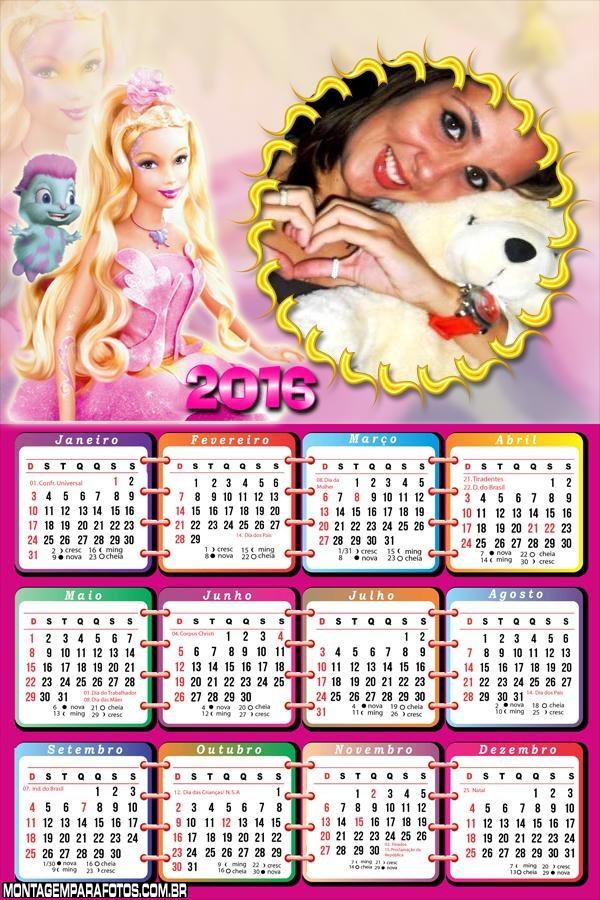 Calendário Barbie 2016 FotoMoldura