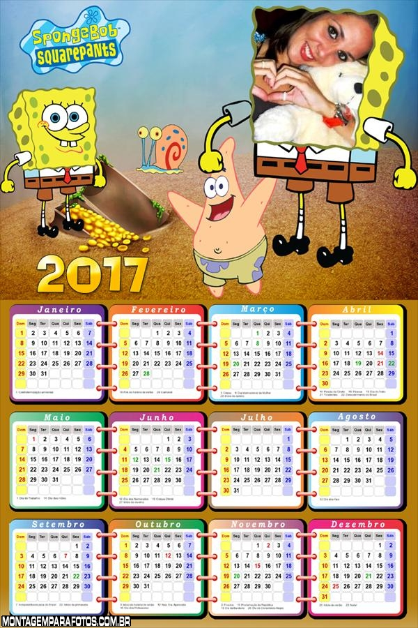 Calendário 2017 Rosto do Bob Esponja Calça Quadrada