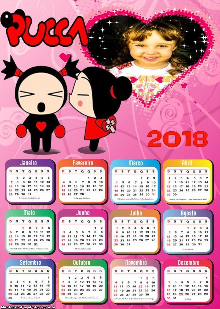 Calendário 2018 da Pucca