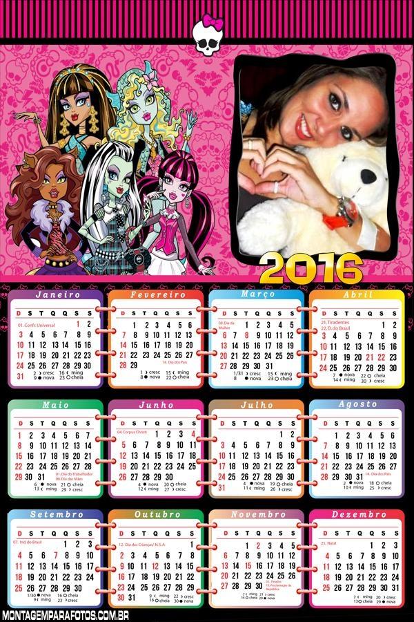 Calendário Monster High 2016 FotoMoldura