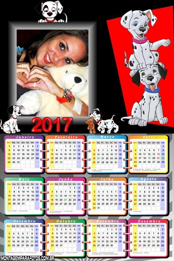 Calendário 2017 Cento e Um Dálmatas
