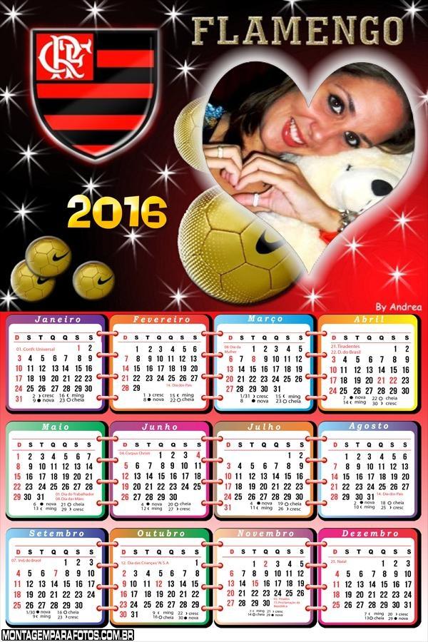 Calendário Flamengo com Amor 2016 | Montagem para Fotos
