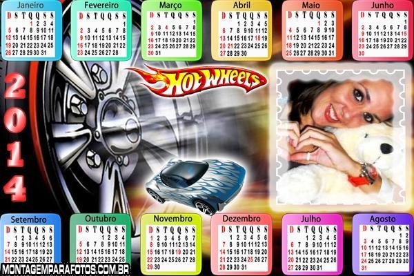 Calendário 2014 da Hot Wheels