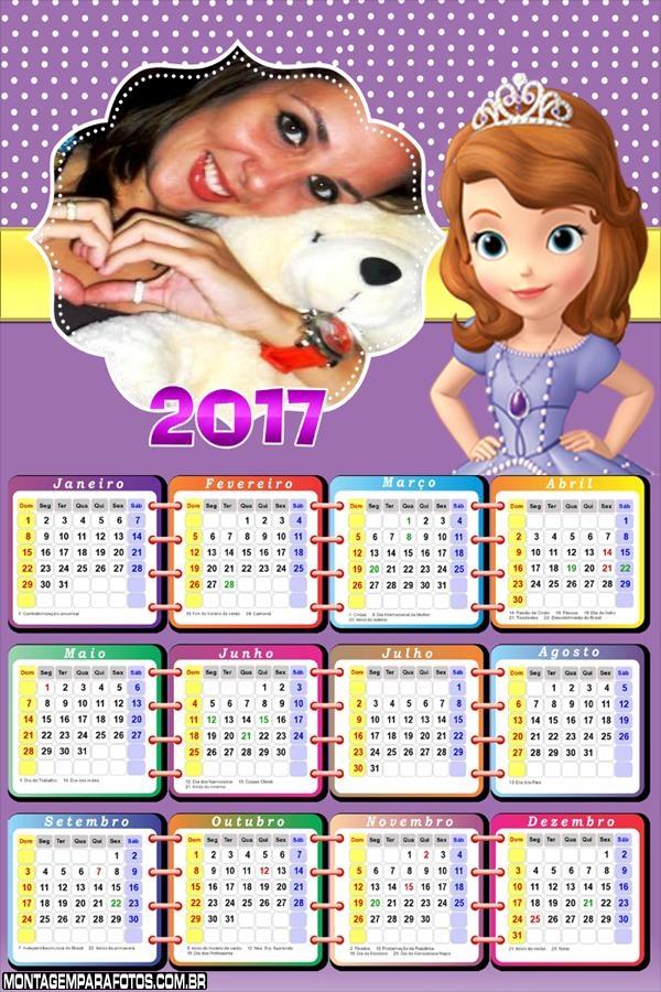 Calendário 2017 Princesinha Sofia
