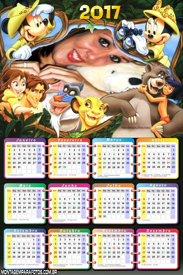 Calendário 2017 Safari do Mickey