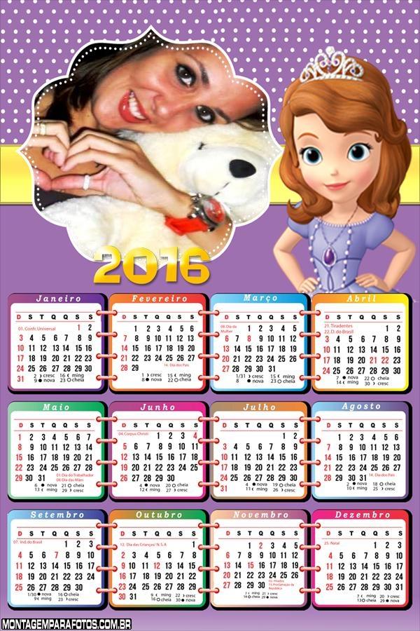 Calendário Princesa Sofia 2016