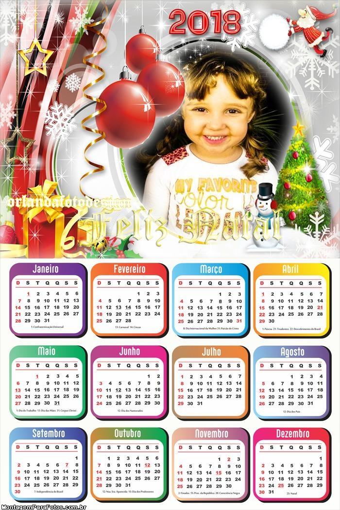 Calendário 2018 Festa de Natal