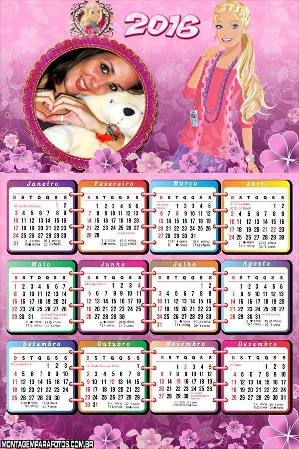 Calendário Desenho Barbie Jovem Adolescente 2016