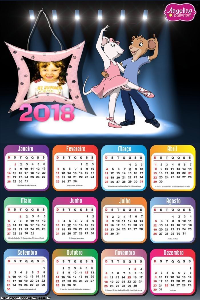 Calendário 2018 Bailarina Angelina