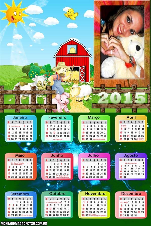 Calendário 2015 Roça Animada