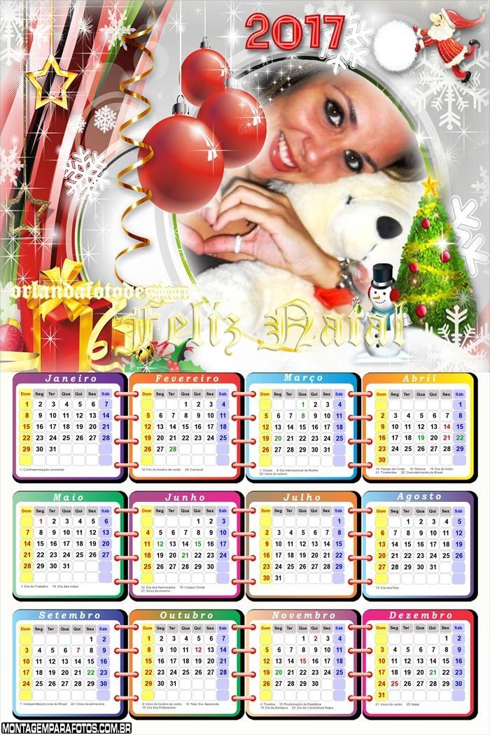 Calendário 2017 Natal com Neve