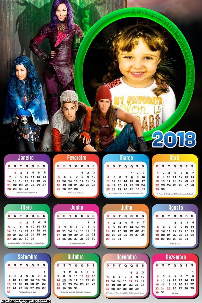 Calendário 2018 Descendentes Personagens