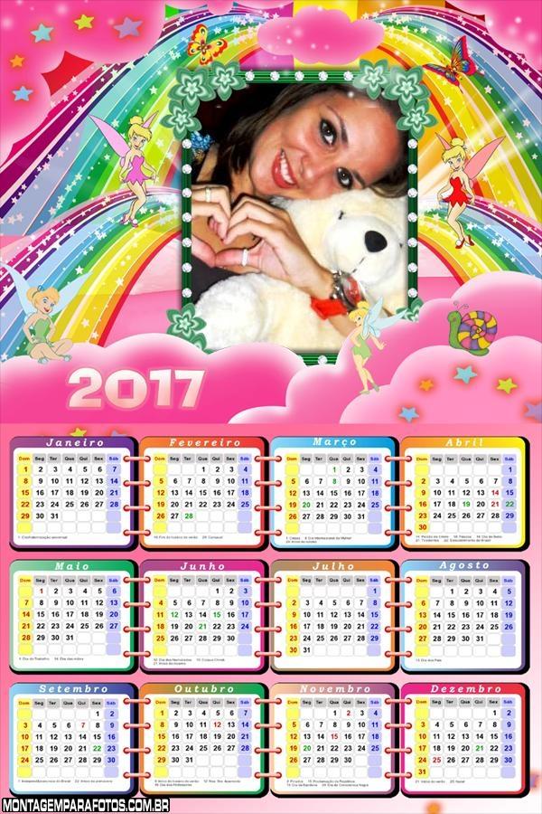 Calendário 2017 Sininho Cor de Rosa