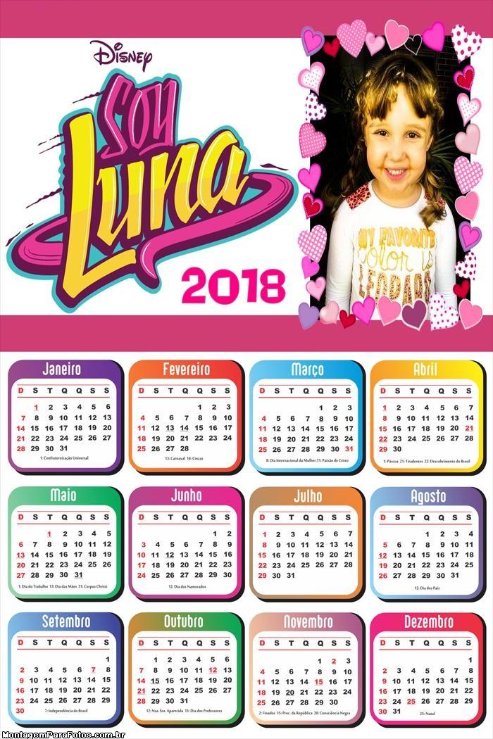 Calendário 2018 Sou Luna Seriado