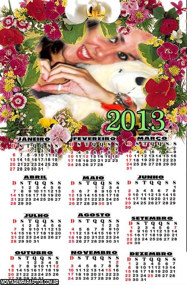 Moldura Floral Calendário 2013