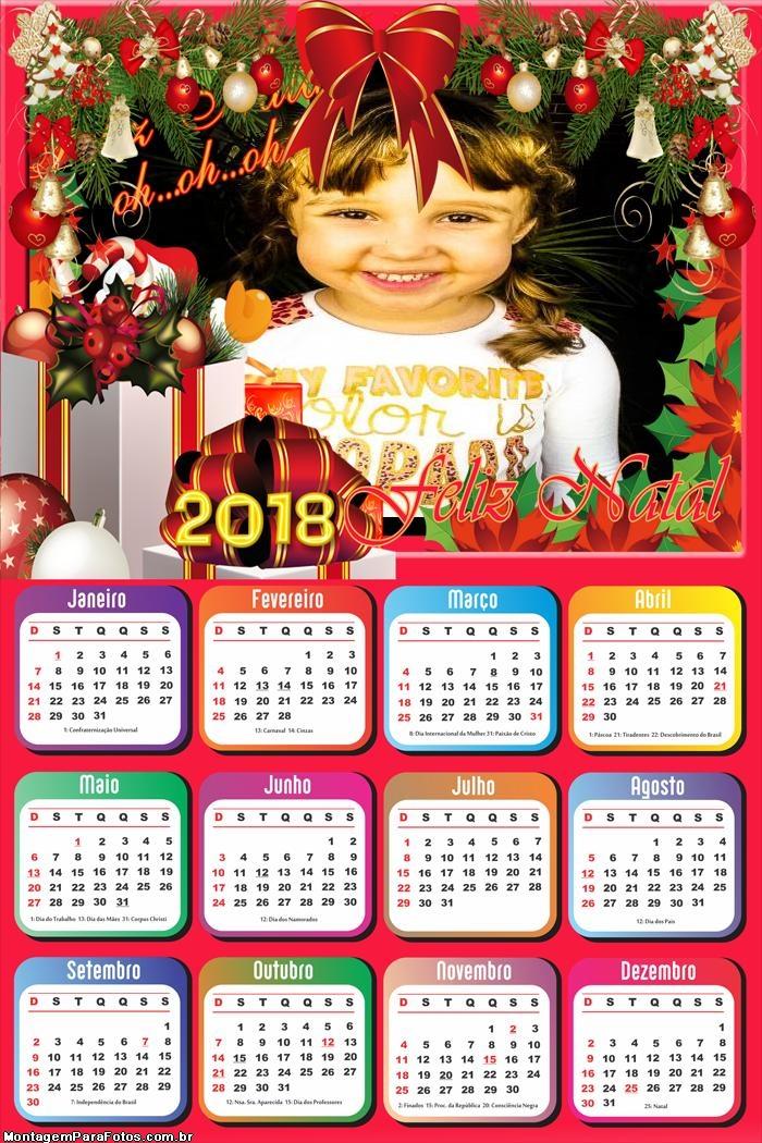 Calendário 2018 Natalina FotoMoldura