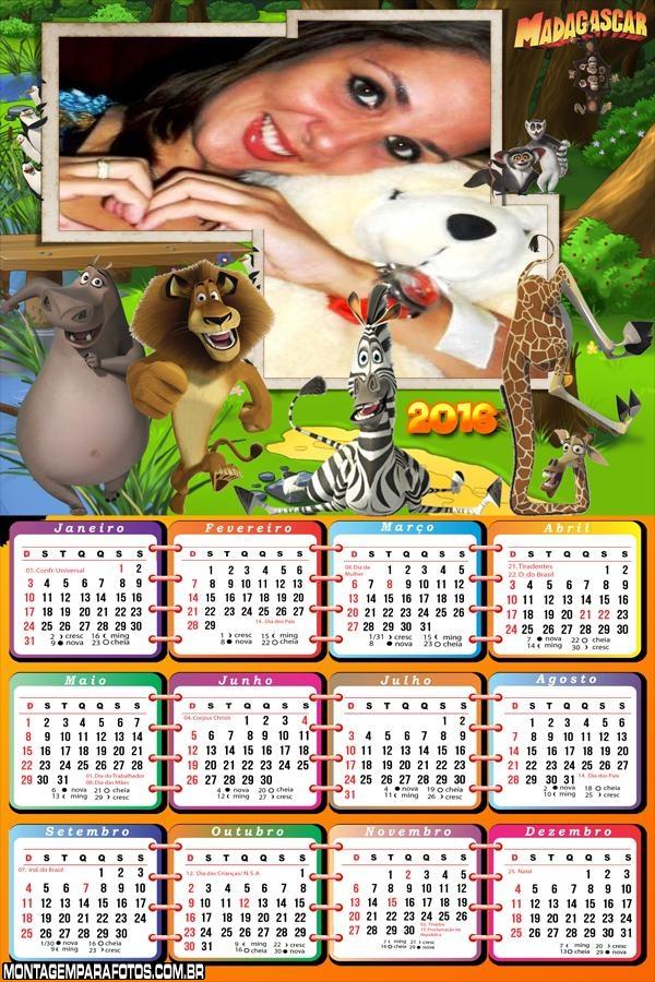 Calendário do Filme Madagascar 2016
