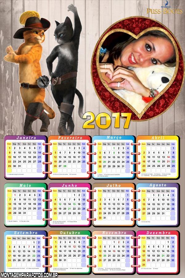 Calendário 2017 do Gato de Botas Moldura