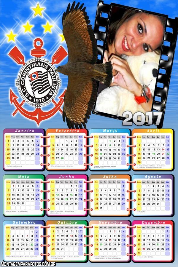 Calendário 2017 Mascote Corinthians Futebol