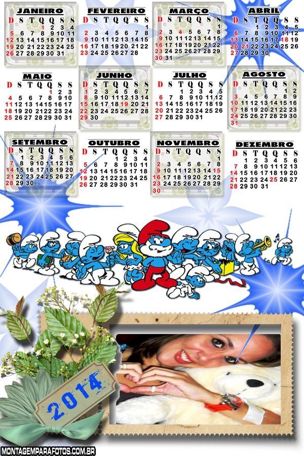 Os Smurfs Calendário 2014