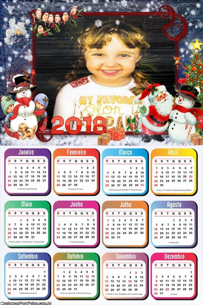 Calendário 2018 Natal Feliz