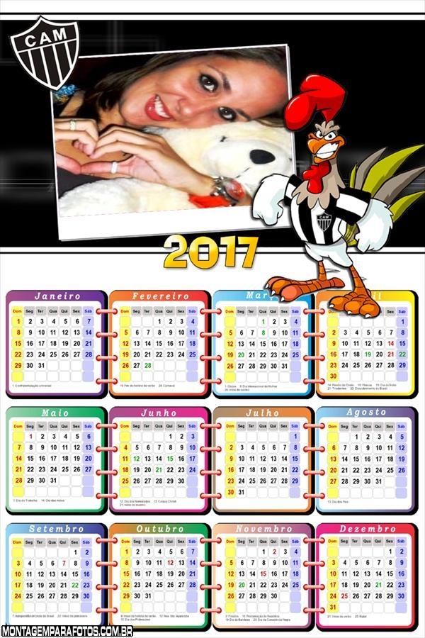 Calendário 2017 Atlético Mineiro Mascote Galo