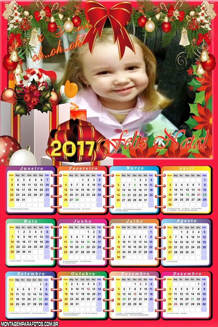 Calendário 2017 Enfeites de Presente de Natal