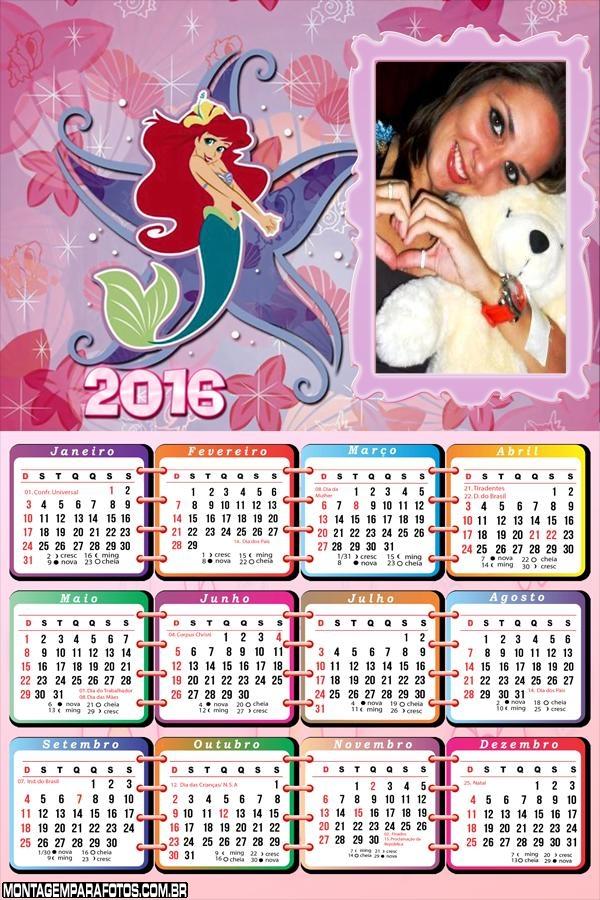 Calendário Pequena Sereia 2016