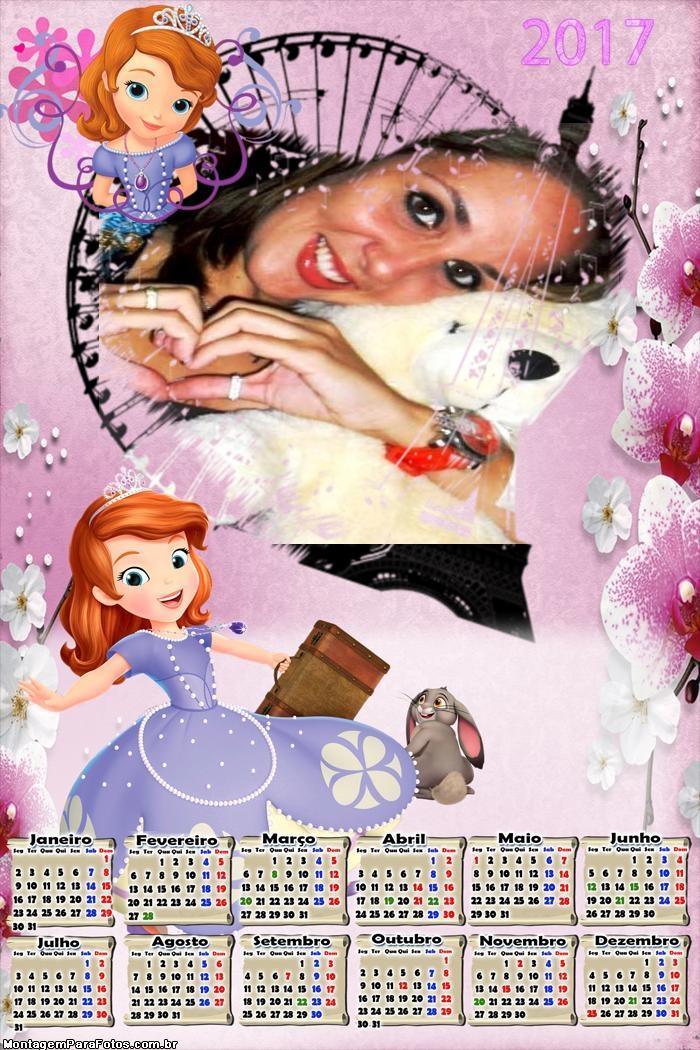 Calendário 2017 Sofia Princesa Disney