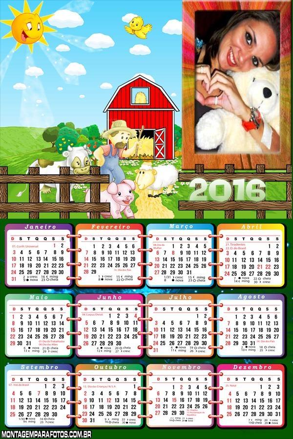 Calendário Fazendinha 2016 Desenho Infantil