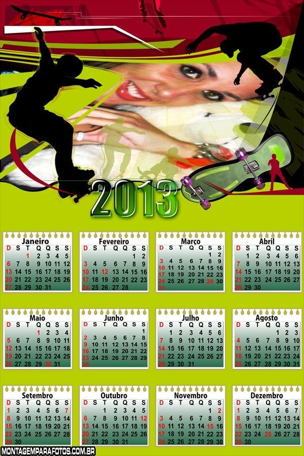 Moldura Calendário Skate 2013