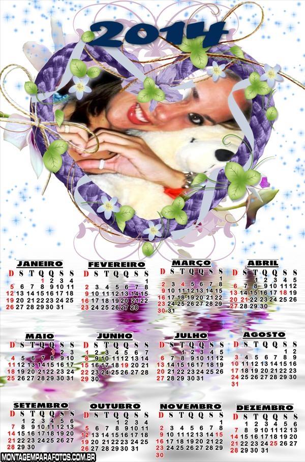 Calendário Coração Lilas 2014