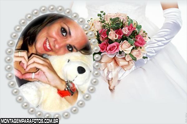 Noiva e Buquê Flores Rosas