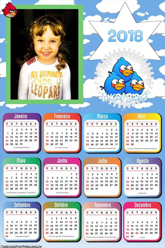 Calendário 2018 Angry Birds Desenho