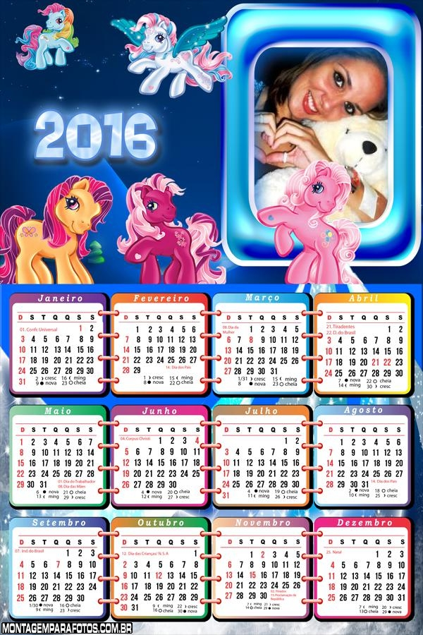 Calendários Infantis Coloridos 2016