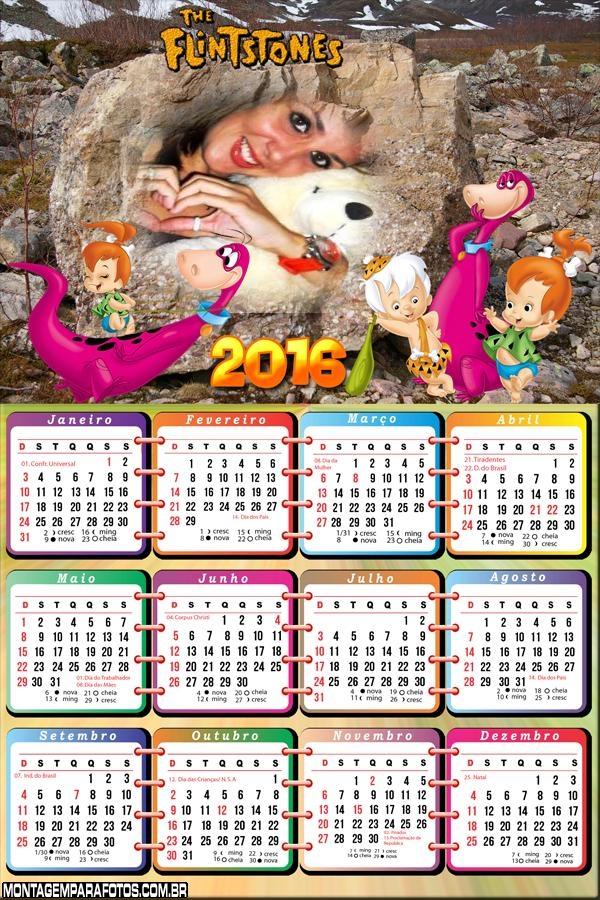 Calendário do Dino e Pedrita Flintstones 2016