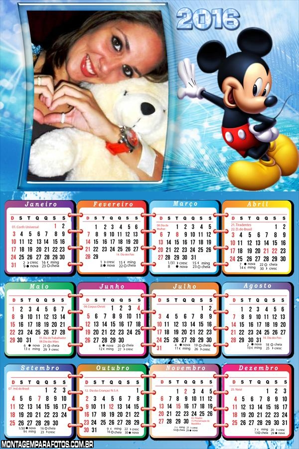 Calendário Mickey Mouse Disney 2016
