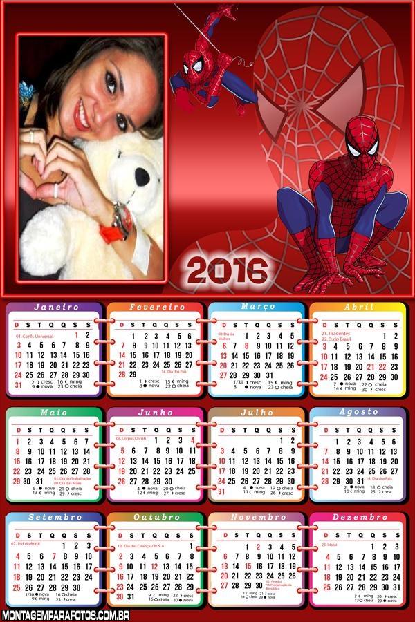 SpiderMan Calendário 2016