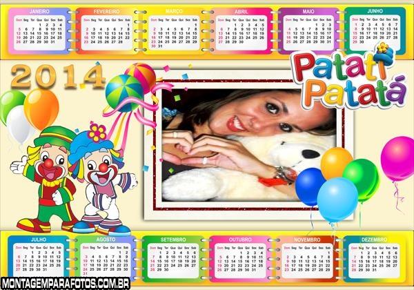 Calendário 2014 Niver Patati