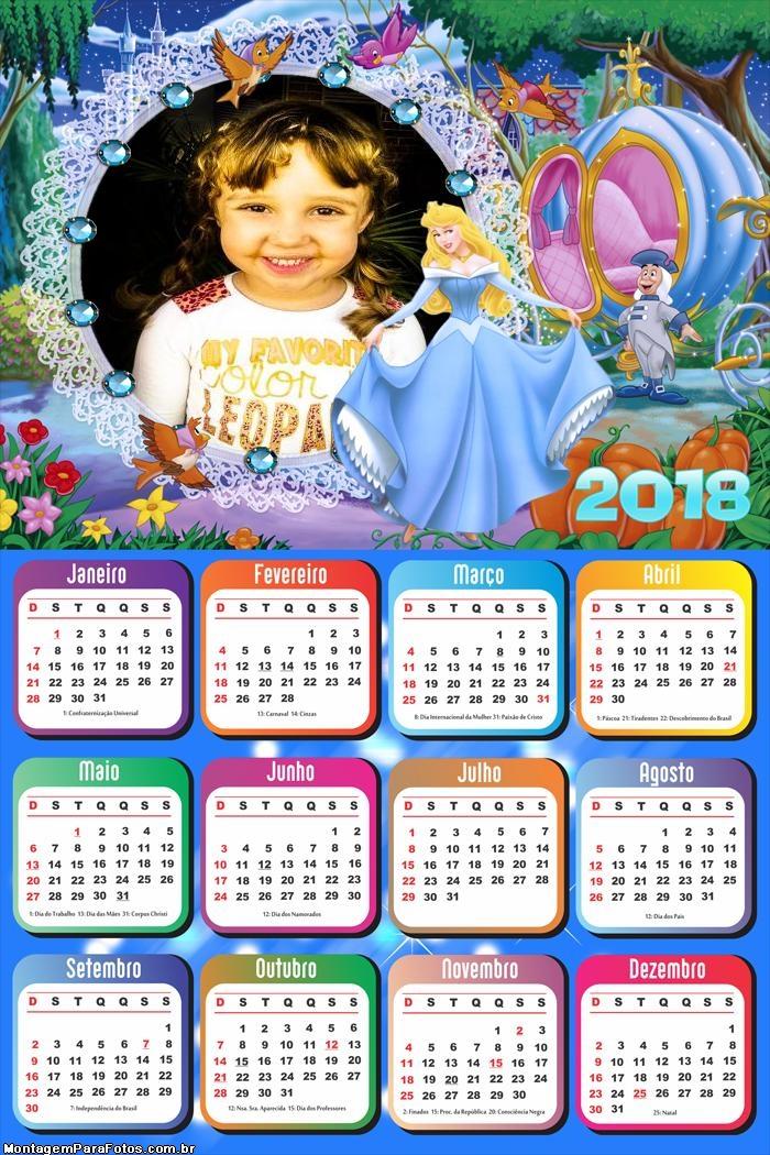 Calendário 2018 Cinderela Princesa Disney