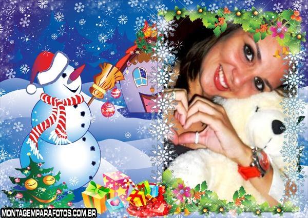 Moldura Boneco de Neve Feliz