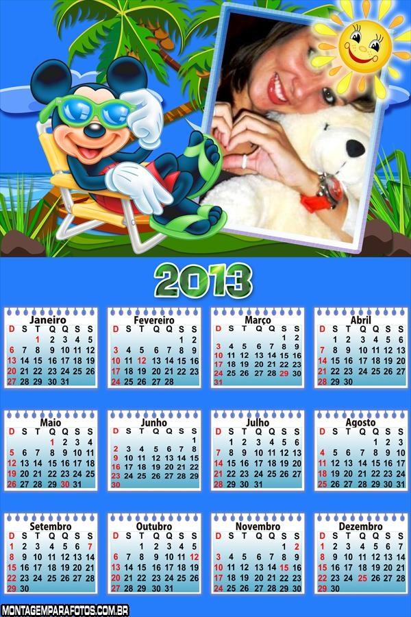 Calendário Mickey na Praia 2013
