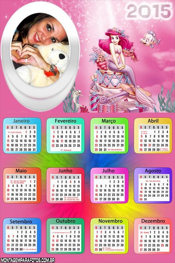 Calendário 2015 Princesa Ariel